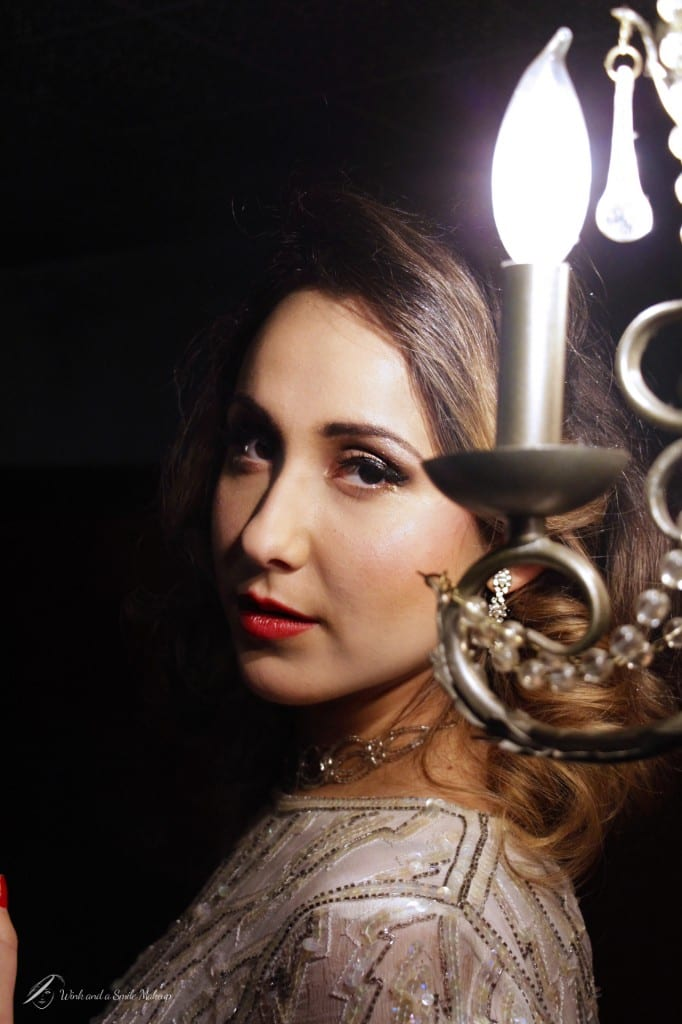 Vintage Hair and Makeup with chandelier