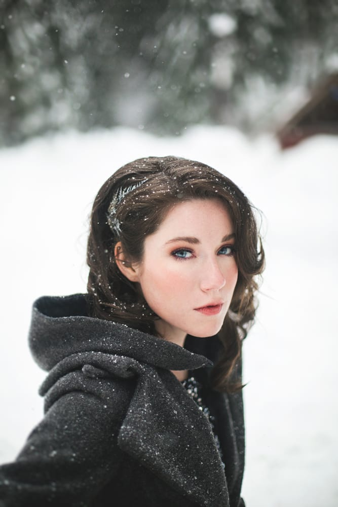 Snow Engagement Makeup and Hair