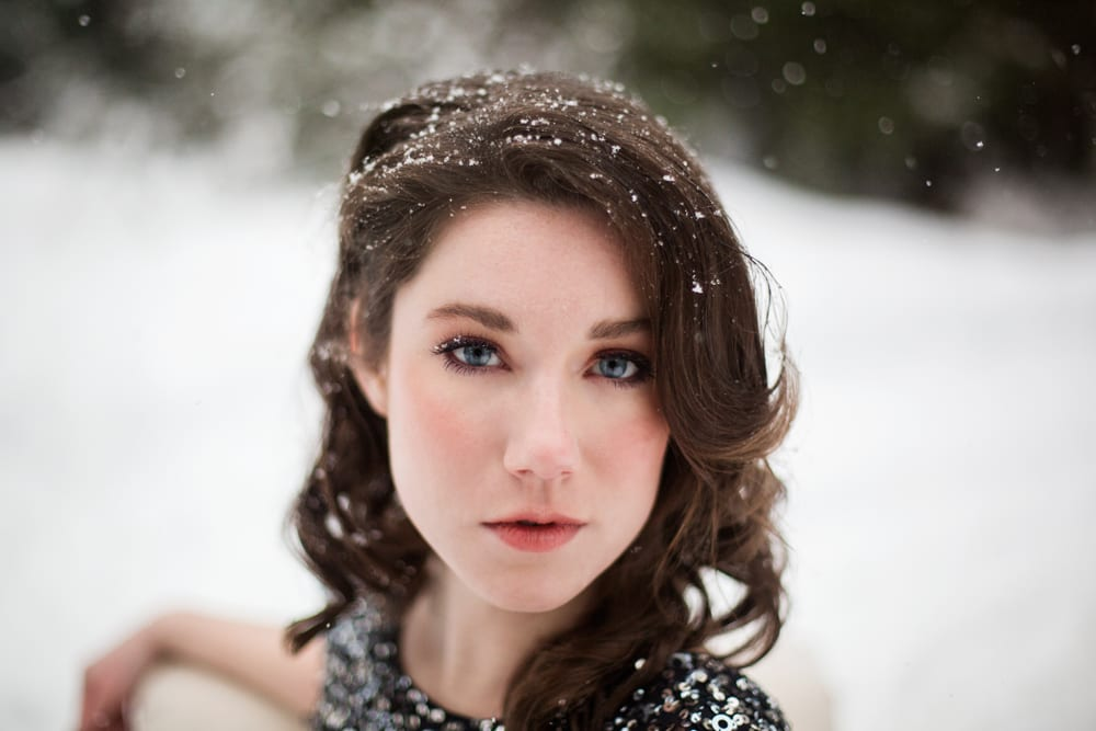 Vintage inspired makeup and hair snow engagement