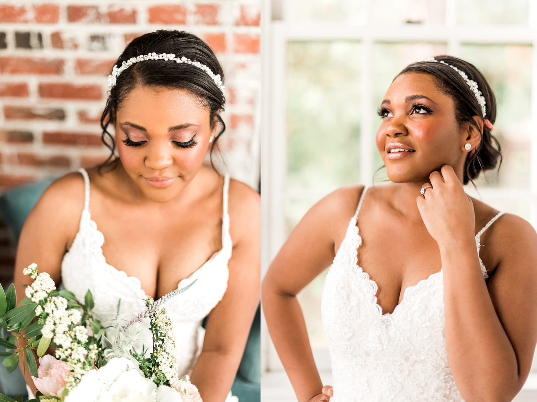 bride with dark skin glowy makeup in spokane